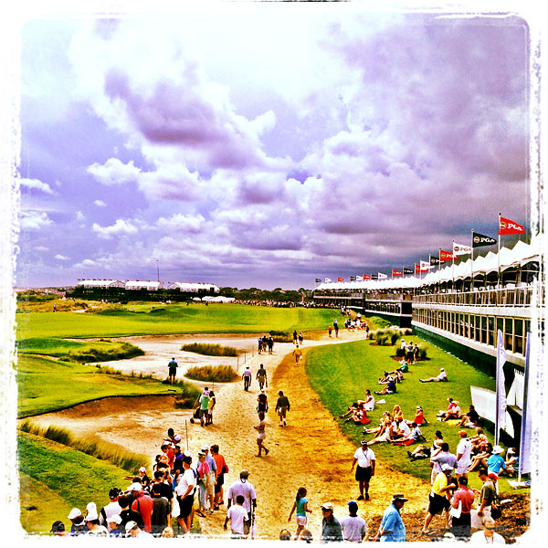 A view from the overpass on the left side of the 18th green on Wednesday.