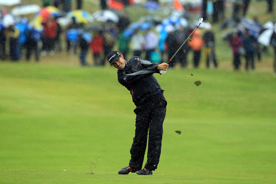 Harrington and the rest of the field played through nasty weather in the third round.
