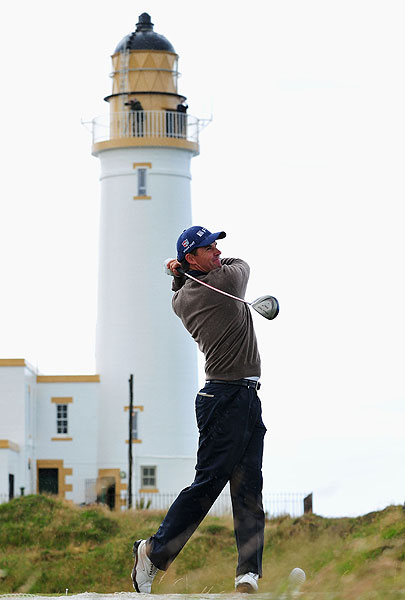 Last year's champion, Padraig Harrington, was trying out his changed swing at Turnberry Tuesday.