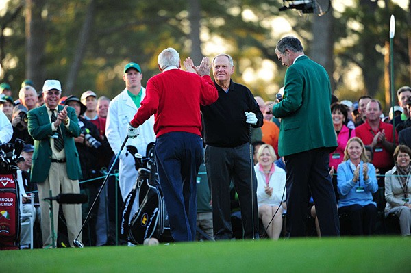 Jack Nicklaus congratulated Palmer after the shot.
