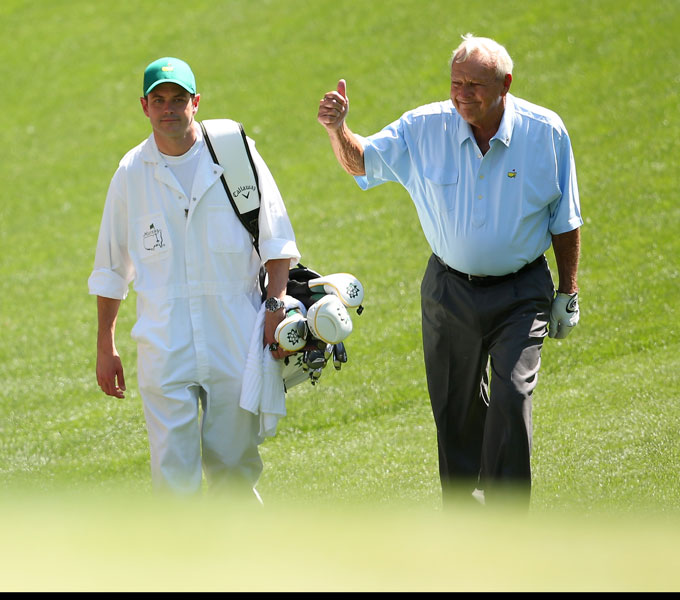 "1. Arnold Palmer                       Arnie is golf's king in so many ways, but in addition to his dominance on the course and off, he is also the best-dressed player ever. Tan, fit and handsome, he wore his clothes like no one else. Throughout his career, Palmer adopted the style influences of the day and made them his own. Earlier this year, Geoff Tait and Bobby Pasternak of Quagmire Golf released the ""Arnie"" line, paying homage to Palmer's iconic looks over three decades. The King's style endures like no other."