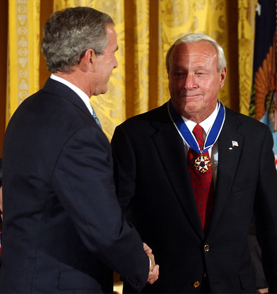 Bush presented Arnold Palmer with the Presidential Medal of Freedom, the nation's highest civilian award, in 2004.