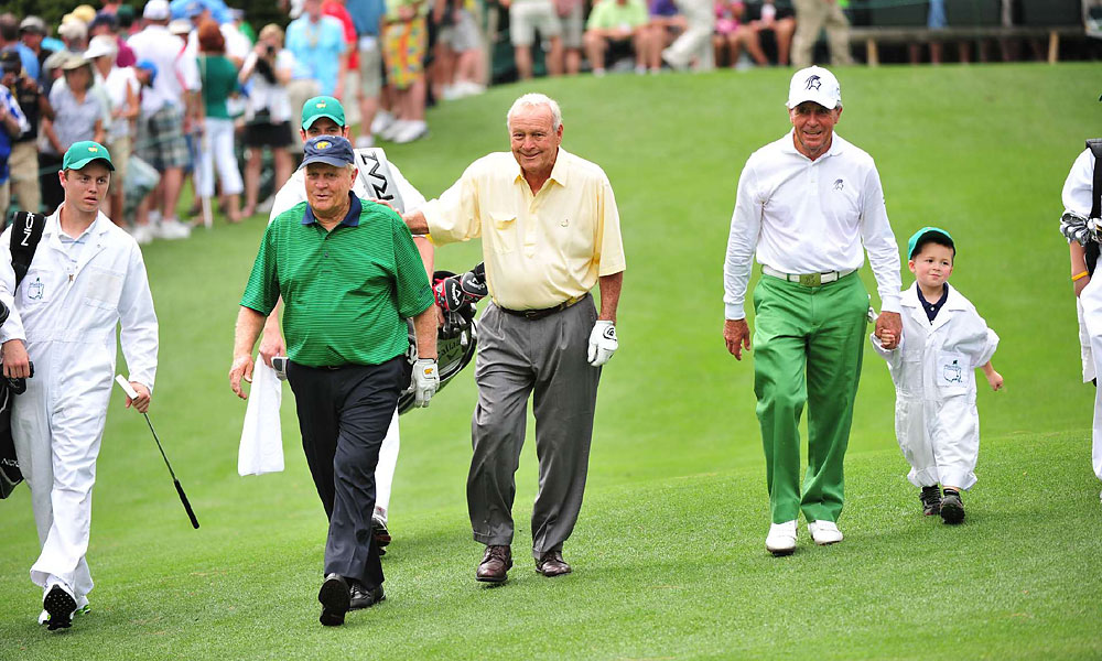 PGA Tour greats Jack Nicklaus, Arnold Palmer and Gary Player participated in Wednesday's Par 3 Contest together.