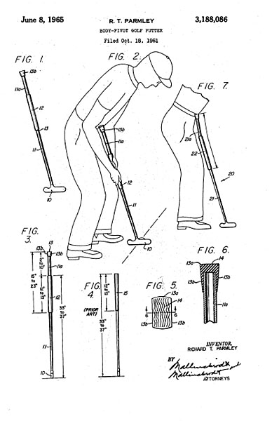 "1965: Richard T. Parmley acquires a patent for what is described as a ""body-pivot"" putter. Let's cut the fancy lingo. It's a belly putter."