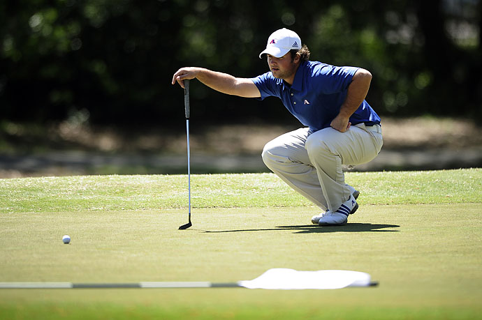 Augusta State's Patrick Reed eyes his putt on the first hole during second round action onApril 2, 2011 at Forest Hills Golf Course in Augusta, Ga.
