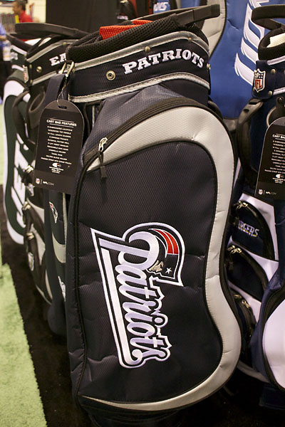 College and pro sports-themed golf gear was popular at the PGA Merchandise Show. Here is a Patriots golf bag from Team Golf.