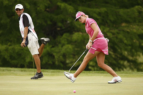 Paula Creamer opened with an eagle on the first hole, and didn't stumble until a bogey on 18. She shot 65.