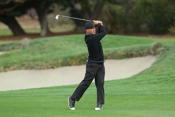 Professional surfer Kelly Slater plays a shot on the second hole during the third round of the AT&T Pebble Beach National Pro-Am at the Pebble Beach Golf Links on Saturday.