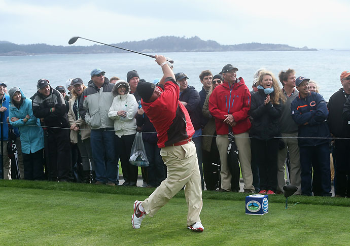 John Daly hits a tee shot on the 14th hole during the third round of the AT&T Pebble Beach National Pro-Am at the Pebble Beach Golf Links on Saturday.