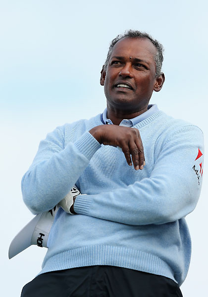 Vijay Singh looks on from the 11th hole during the third round of the AT&T Pebble Beach National Pro-Am at the Monterey Peninsula Country Club on Saturday.