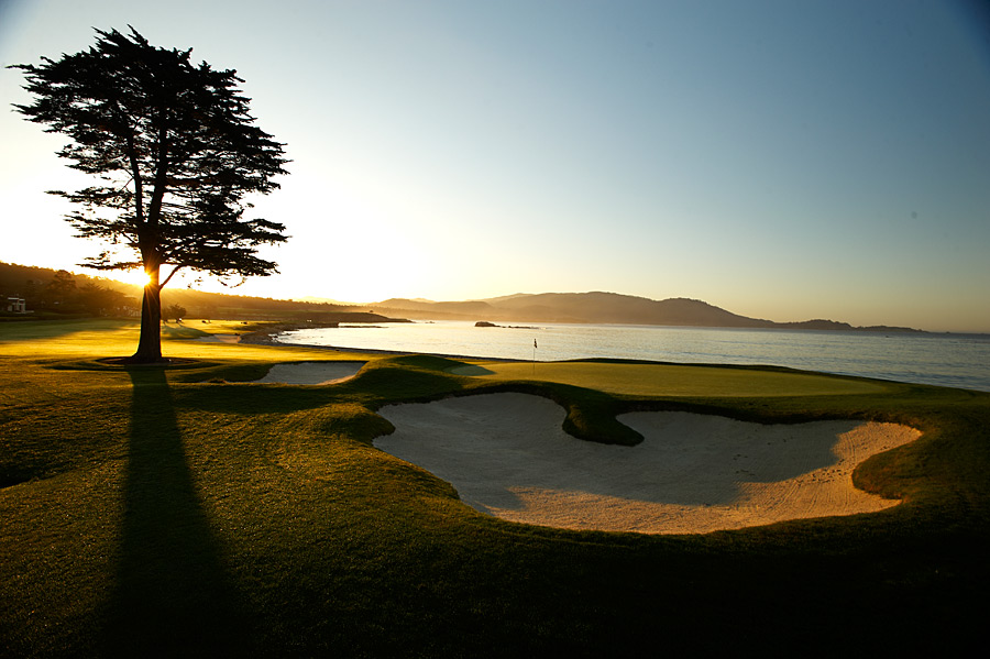 3. Pebble Beach Golf Links -- No. 18: Par 5, 543 yards -- Pebble Beach, Calif.                     There may be tougher finishing holes out there, but none as dramatic. Arcing to the left along Carmel Bay, Pebble's 18th is even a better hole today than it was years ago, because modern equipment has allowed the majority of bold hitters to challenge the green in two. While the beauty is overwhelming, the strategy is what elevated the hole, thanks to its simple risk/reward sensibility: How close to the water's edge do you dare play? There's simply no experience in golf that compares to walking up Pebble's 18th.