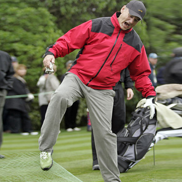 No amount of netting could stop Bill Murray from teeing off Wednesday at the AT&T Pebble Beach National Pro-Am.