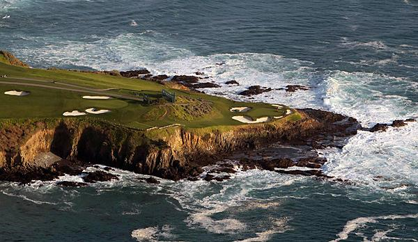 Pebble Beach                     This close-up of Pebble shows the peninsula that includes the 6th green, the 7th hole, and the 8th tee jutting out into the Pacific Ocean.