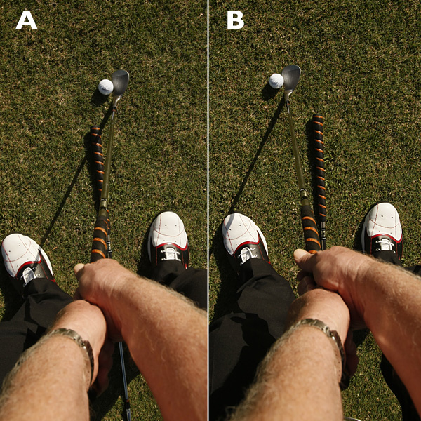 HOW TO GET MORE SPIN FROM YOUR SWING                                              PLAY THE BALL BACK IN YOUR STANCE                                              This encourages you to strike the ball with a descending blow so you get less grass between the ball and the clubface.                                              A. YES Position the ball one to two ball-widths back of center.                                                                     B. NO A forward ball position makes it easy to hit behind the ball and catch grass between your clubface and the ball.