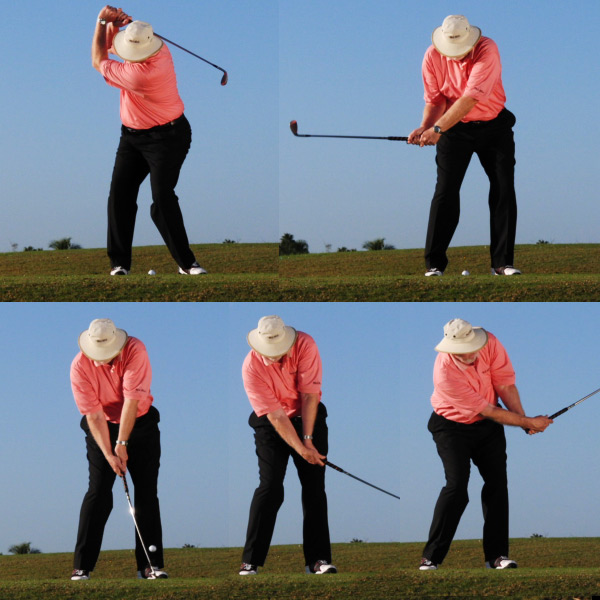 SWING FROM SHORT TO LONG                                              You get proper clubhead acceleration when you take a shorter backswing and swing through to a full finish.                                              NO Making a long backswing and cutting your finish short (in an attempt to control distance) leads to deceleration and poor spin-producing contact.