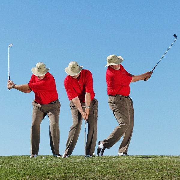 ULTRA-SAFE                                              BUMP-AND-RUN                                              It's a 1/3 swing with a 5-iron using a very simple motion. With good contact, this shot will give you 60 yards of carry and 30 yards of roll.                                              BEFORE YOU GO FOR IT...                                              The bump-and-run almost always leaves your just short of the green. Most amateurs miss to the right or left with this shot less often than they do with full-power sand wedges.