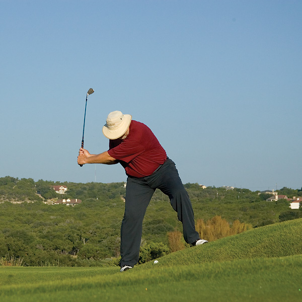 The problem                                              You always leave wedge shots from uphill lies short of your target--sometimes even short of the green--because your clubhead digs into the slope at impact.