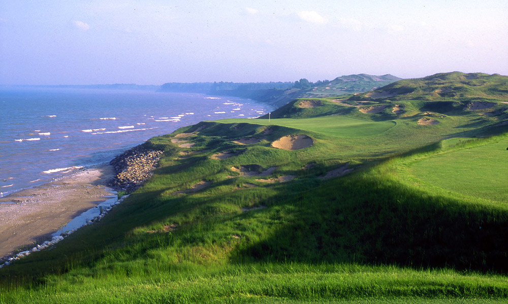"""DIRE STRAITS                   The third hole at Whistling Straits, in Kohler, Wis. On the tee, the green seems to hang in the water. When I first went up there, I saw a sign: """"Kohler, Wisconsin -- population, 1,332."""" I wondered, """"Why would anyone want to build a course here?"""" Well, I've built four, and I'm getting it ready for the 2015 PGA Championship."""