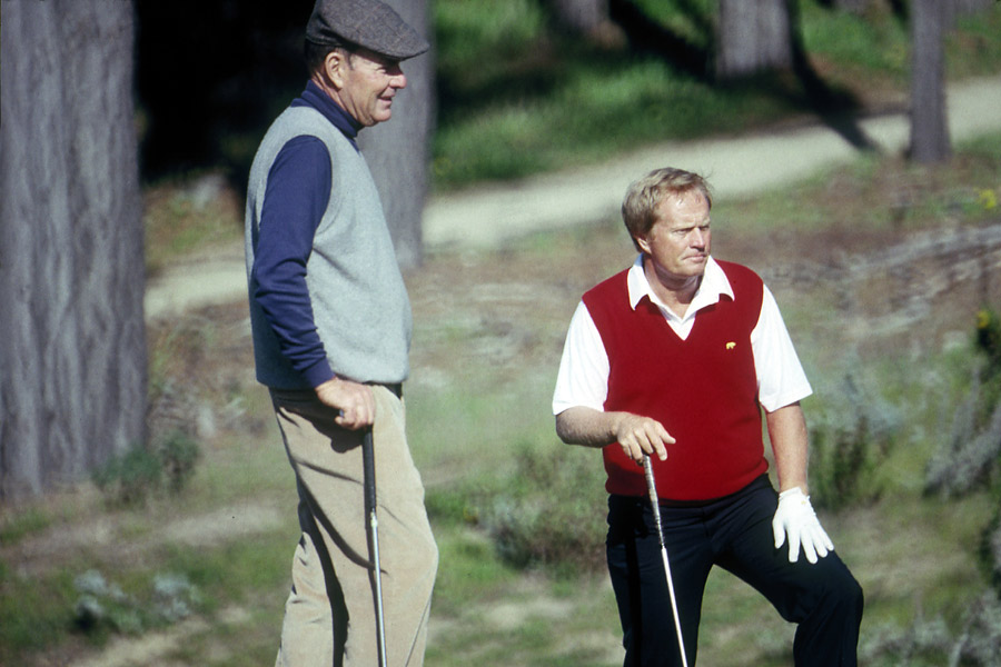 JACK & ME                       Here's Jack and me playing [in the 1980s] at Pebble Beach. Jack has been a great friend for many years. He beat me in the [1958] Trans-Mississippi Amateur. In speeches he tells people he beat Pete Dye to get into the Masters. He forgets that the following year, I beat him at Inverness. He doesn't bring that up! [Laughs]