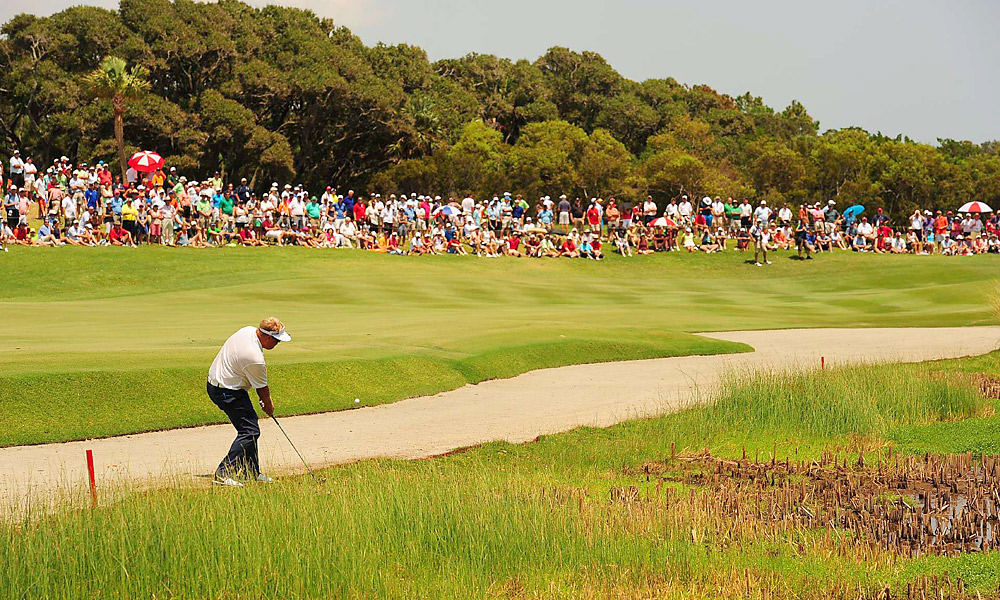 Carl Pettersson began the final round of the PGA Championship at Kiawah Island tied for second, three shots back of Rory McIlroy. On the first hole, Pettersson drove his ball into a sandy waste area. When taking his second shot, Pettersson's club nicked a leaf during his backswing, causing the leaf to move. Since the leaf was considered a loose impediment in a lateral hazard, Pettersson was penalized two strokes, costing him any chance of catching McIlroy, who went on to win by eight.