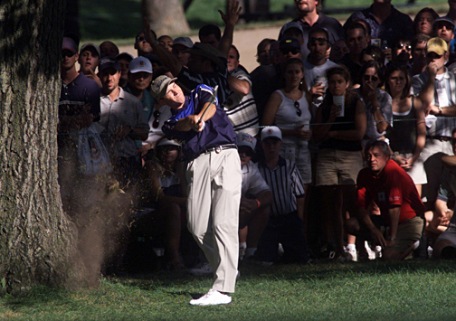 1999 — STUMPED!                                              Medinah Country Club,                       Medinah, Ill.                       Winner: Tiger Woods                                              Tiger Woods triumphed, but this PGA is remembered for one of the wildest recovery shots in major history. On the 16th hole in the final round, the drive of 19-year-old Sergio Garcia landed 189 yards from the green in exposed roots behind a massive tree. Instead of chipping safely to the fairway, he shut his eyes at impact and slashed the ball out with a banana slice. Hot damn! The ball rocketed onto the green about 60 feet from the hole as the young Spaniard bounded up the fairway. Woods took the title but Garcia's shot stole the thunder.