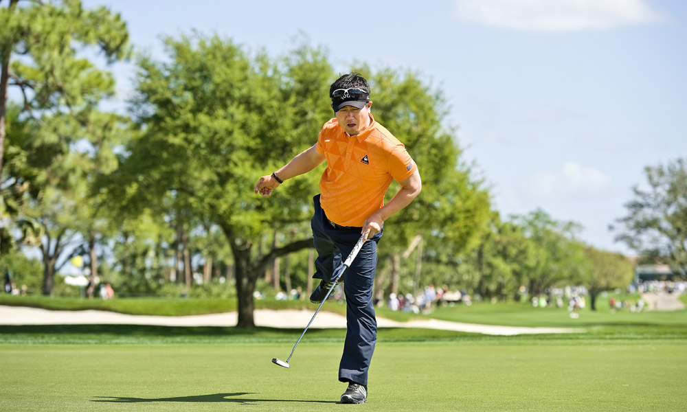 1. PGA National Champion Course, Palm Beach Gardens, Fla. (Honda Classic)                       Par: 70                       Yards: 7,158                       Average Score: 72.54 -- 2.54 strokes over par                                              Y.E. Yang makes a birdie putt on the third hole at the PGA National Champion Course at the 2009 Honda Classic.