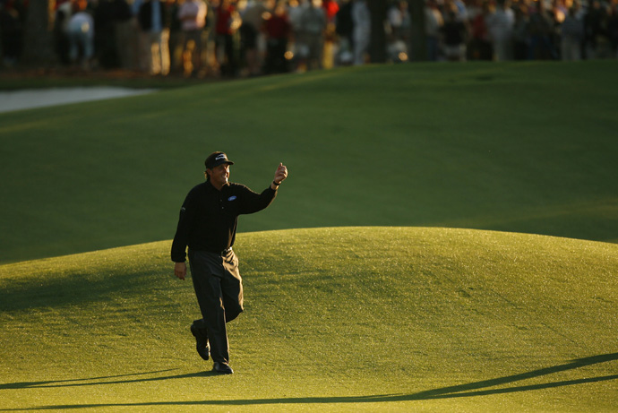 In 2006, Mickelson cruised to his second Masters title, defeating Tim Clark by two strokes.