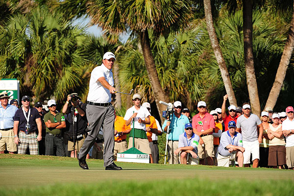Mickelson missed a birdie putt on the 11th hole.