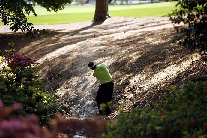No shot he won't try. Phil Mickelson hits from Rae's Creek at the 2007 Masters.