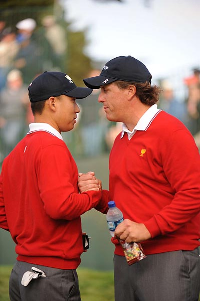 Anthony Kim and Phil Mickelson at the 2009 Presidents Cup at Harding Park Golf Club in San Francisco. Mickelson has had success teaming with younger players in recent Ryder Cups and Presidents Cups.