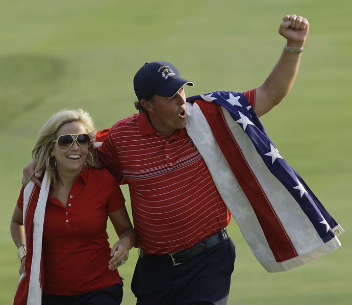 Phil Mickelson and his wife Amy celebrate after winning the 2008 Ryder Cup golf tournament at the Valhalla Golf Club, in Louisville, Ky.