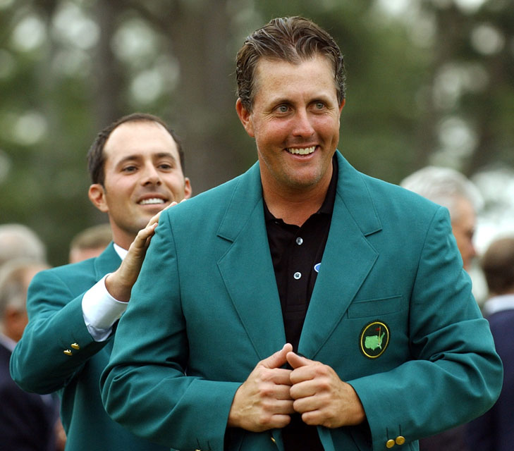 Mickelson received his first green jacket from 2003 Masters champion, and fellow lefty, Mike Weir.
