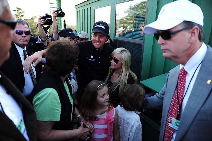 Phil Mickelson and wife Amy after Phil won the 2010 Masters. It was an emotional win for the Mickelson, as Amy had been fighting breast cancer the previous year.