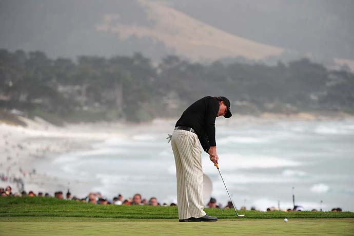 Phil Mickelson at Pebble Beach on Sunday of the 2010 U.S. Open. Mickelson finished fourth at that Open, which was won by Graeme McDowell.