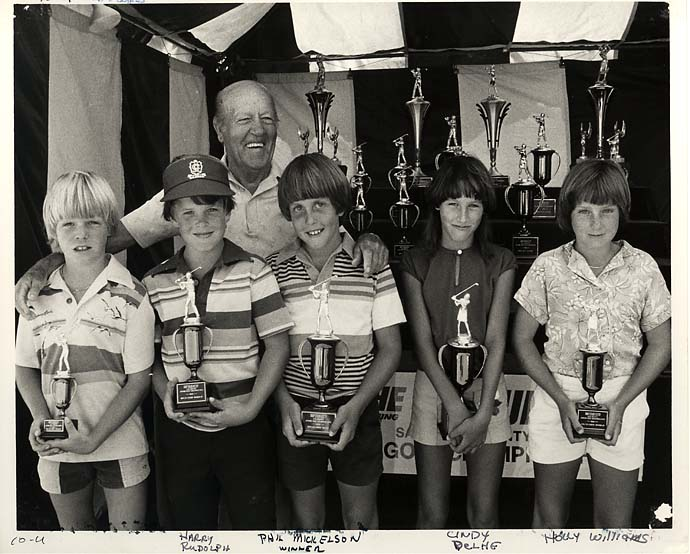 Phil Mickelson with Junior World Champions trophy in 1980 from the archives of San Diego Junior Golf Association.
