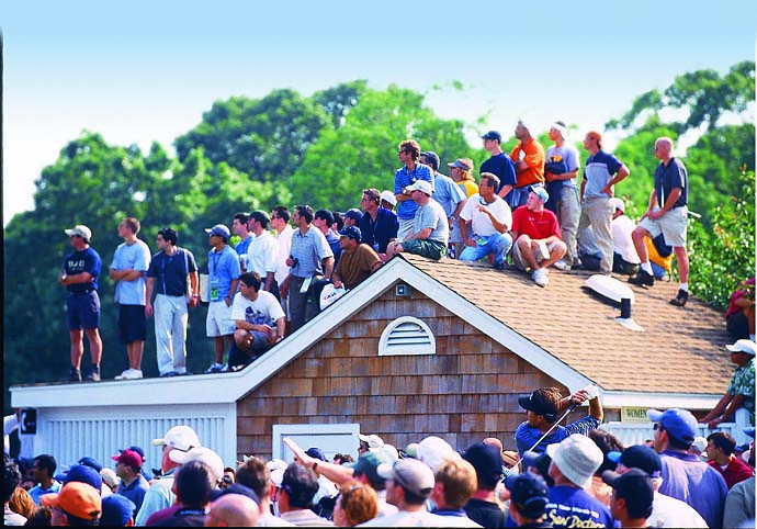 Phil Mickelson tees off at the 6th within view of spectators in final round at the 2002 U.S. Open at Bethpage Black in Farmingdale, N.Y. The Legend of Phil was born at the 2002 U.S. Open, which he lost to Tiger Woods by three strokes.