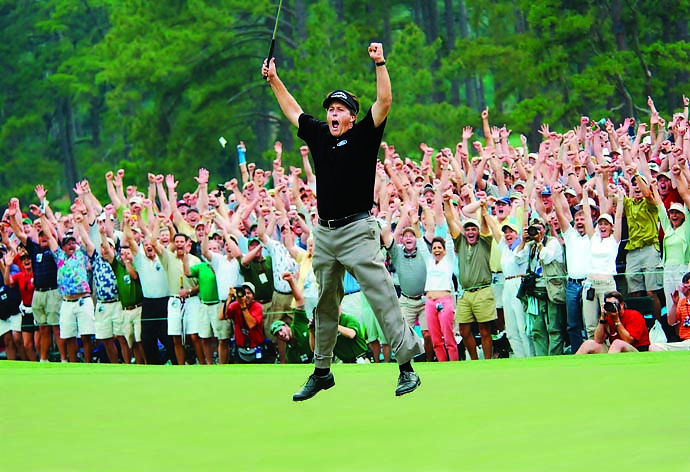 The most iconic image of Phil Mickelson is his victory leap after winning the 2004 Masters, his first major.