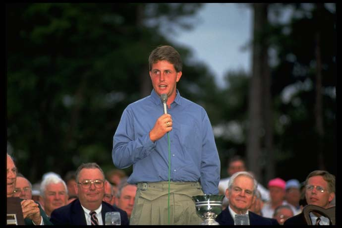 Phil Mickelson speaks at Augusta National as low amateur at the 1991 Masters.