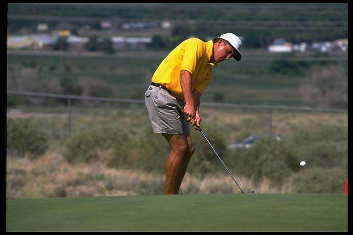 Phil Mickelson at the 1992 NCAA golf finals. Over the course of his college career, Mickelson won 16 tournaments.
