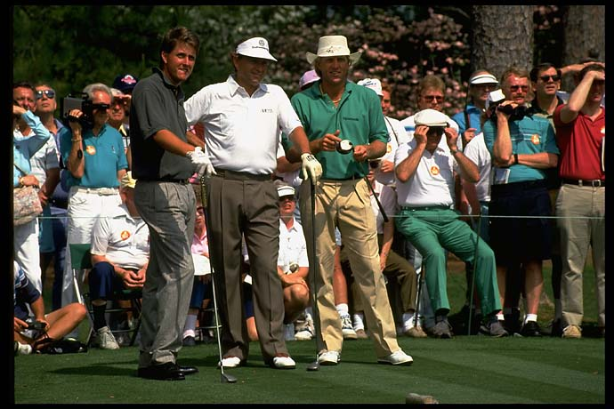 U.S. Amateur champion Phil Mickelson plays the Par-3 Tournament at the 1991 Masters with Ray Floyd and Greg Norman.
