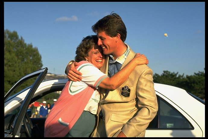 Thanks, mom! Phil Mickelson hugging his mother after winning the 1994 Tournament of Champions at La Costa in Carlsbad, Calif.