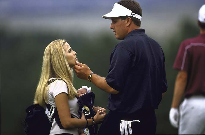 Phil Mickelson with wife Amy and baby at the Sprint International in Colorado in August 1999.