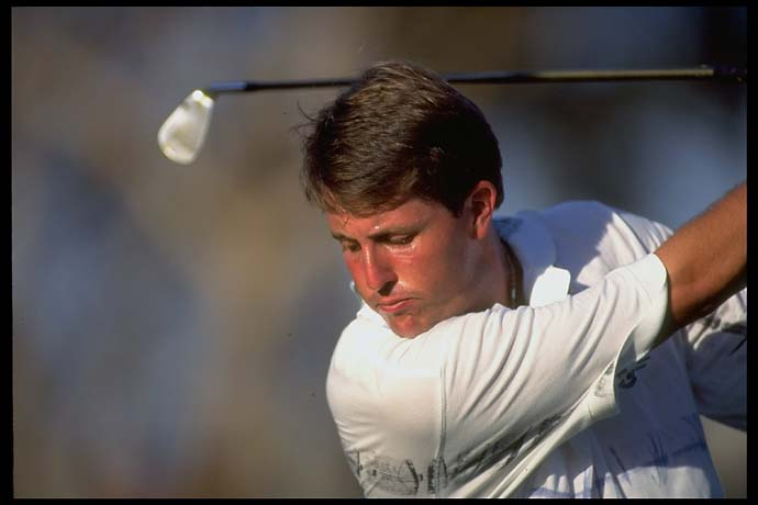 Portrait of Phil Mickelson alone during practice in February 1996.