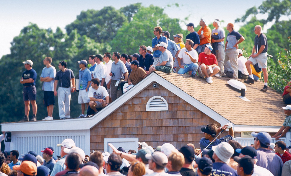 Fans did whatever they could to get a glimpse of Mickelson.