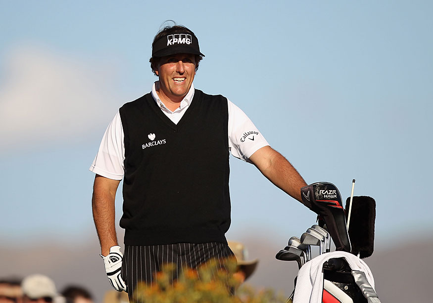Phil Mickelson got off to a rocky start, but he made four birdies on the back nine to shoot a 70.