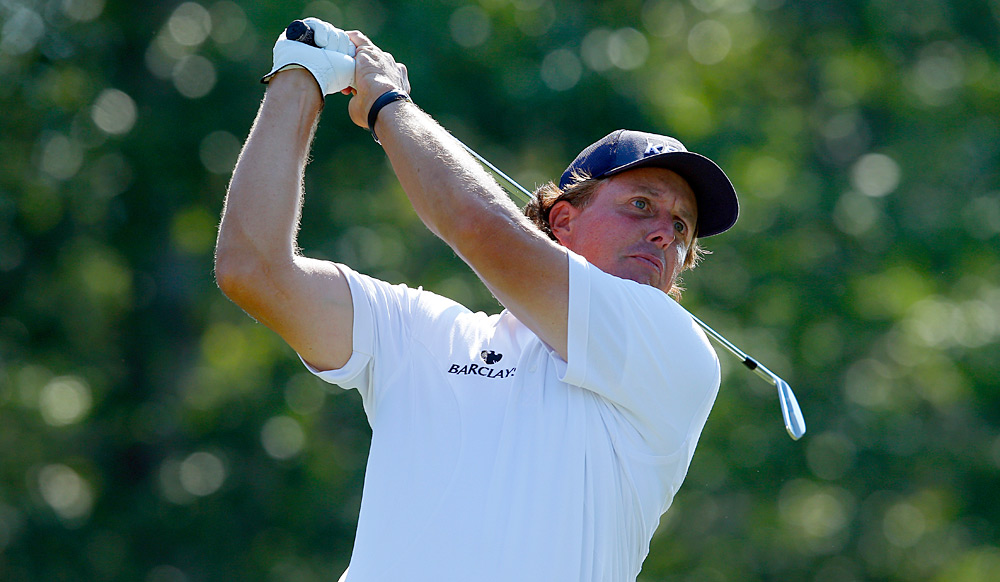 Phil Mickelson made six birdies and three bogeys for a 68.