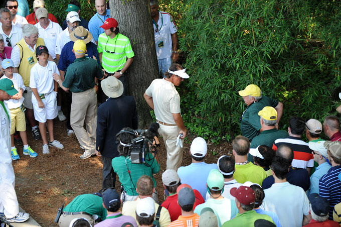 "It's hard to feel sorry for Lefty, given he already had three Masters wins. Yet in Van de Veldian fashion, he cut a 4-iron into the grandstand in the fourth round while near the lead. Instead of a free drop from a cushy lie, his ball caromed off a railing and dribbled into an area of dense trees and bamboo. He would make a triple-bogey. ""That's the worst break in Phil's career by a mile,"" said his caddie, Jim ""Bones"" Mackay."