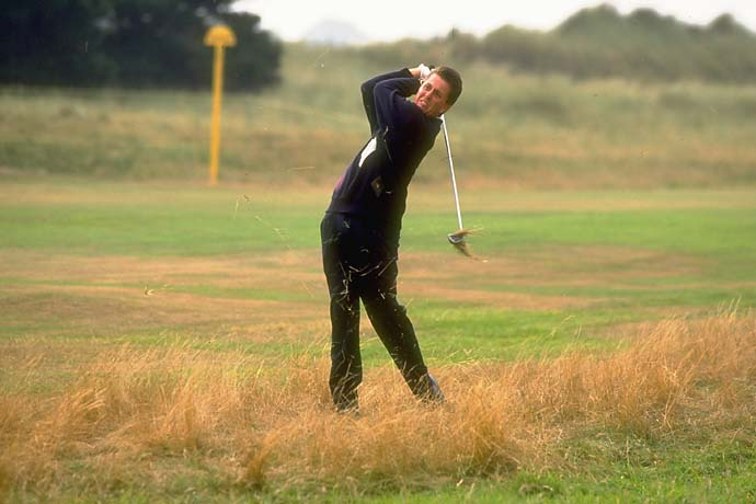 "Phil Mickelson at the 1991 Walker Cup at Portmarnock Golf Club in Ireland. Mickelson caused a minor tabloid scandal when asked by a TV reporter on Thursday to comment on a replay that showed him hitting out of the rough near the gallery, Mickelson chuckled and said, ""That's not a place I want to be. The Irish women are not that attractive."""
