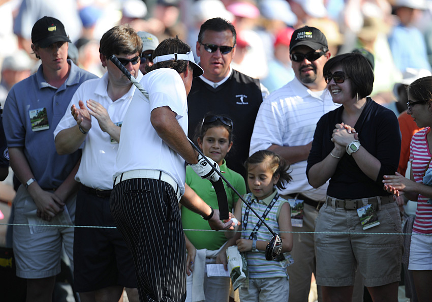 Mickelson gave a lucky fan a souvenir on the 15th hole.