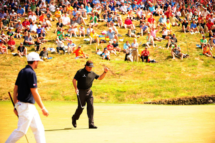 Phil Mickelson fired a three-under 67 Thursday to grab the lead at Merion.